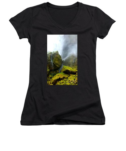 Green Falls Women's V-Neck T-Shirt (Junior Cut) by Raymond Earley