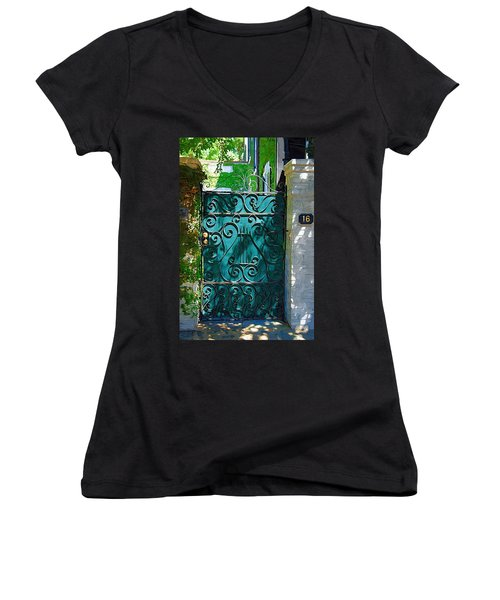 Green Gate Women's V-Neck T-Shirt (Junior Cut) by Donna Bentley
