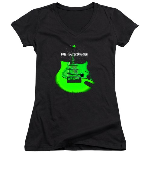 Women's V-Neck (Athletic Fit) featuring the photograph Green Guitar Full Time Occupation by Guitar Wacky
