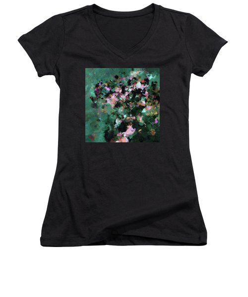 Green Landscape Painting In Minimalist And Abstract Style Women's V-Neck T-Shirt (Junior Cut) by Ayse Deniz