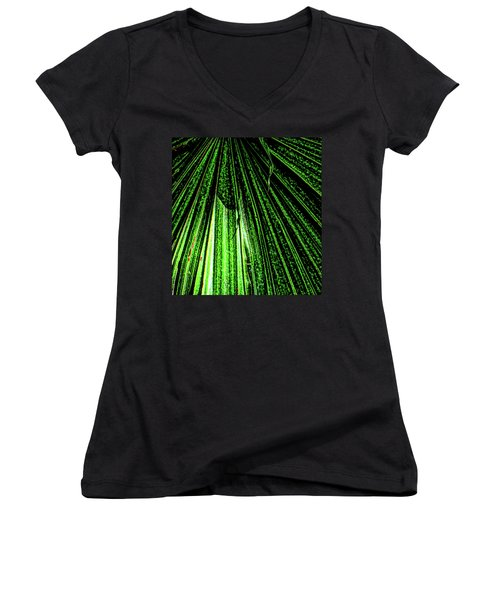 Green Leaf Forest Photo Women's V-Neck T-Shirt (Junior Cut) by Gina O'Brien