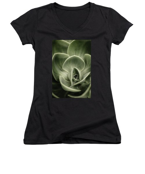 Women's V-Neck T-Shirt (Junior Cut) featuring the photograph Green Leaves Abstract IIi by Marco Oliveira
