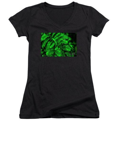 Green Leaves Women's V-Neck (Athletic Fit)