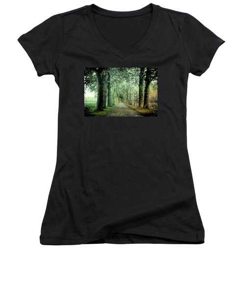 Women's V-Neck T-Shirt (Junior Cut) featuring the photograph Green Magic by Annie Snel