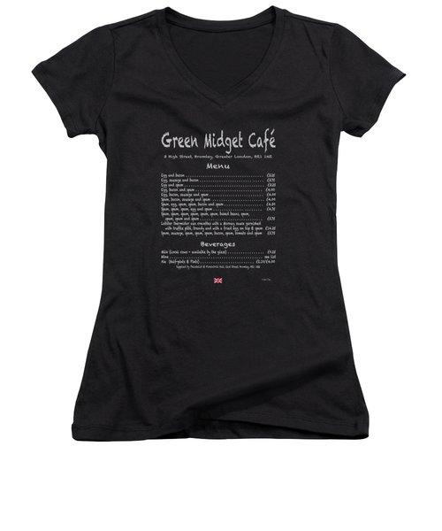 Green Midget Cafe Menu T-shirt Women's V-Neck T-Shirt (Junior Cut) by Robert J Sadler