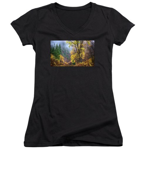 Green Mountain Fall Women's V-Neck T-Shirt (Junior Cut) by John Poon