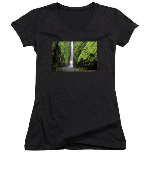 Women's V-Neck T-Shirt (Junior Cut) featuring the photograph Green Slot Canyon by Jonathan Davison