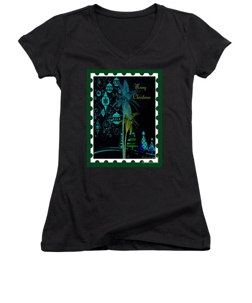 Women's V-Neck T-Shirt (Junior Cut) featuring the digital art Green Stamp by Megan Dirsa-DuBois