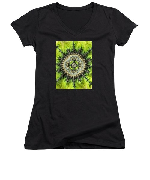 Women's V-Neck T-Shirt (Junior Cut) featuring the photograph Green Star by Ronda Broatch