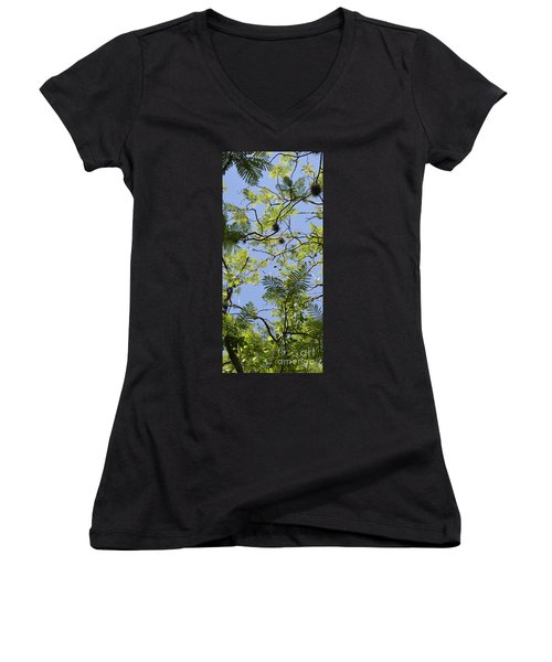 Greenery Left Panel Women's V-Neck T-Shirt (Junior Cut) by Renie Rutten