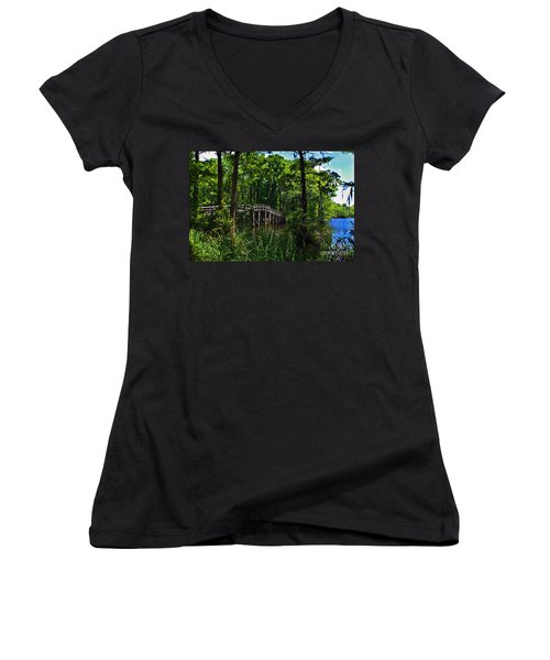 Greenfield Lake Bridge Women's V-Neck T-Shirt