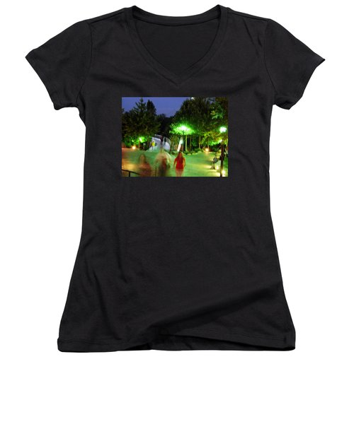 Greenville At Night Women's V-Neck (Athletic Fit)