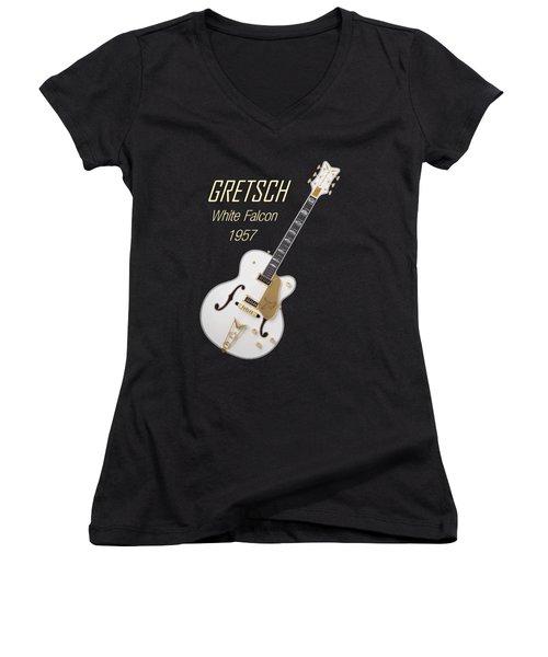 Gretsch  White Falcon 1957 Women's V-Neck T-Shirt (Junior Cut) by Shavit Mason