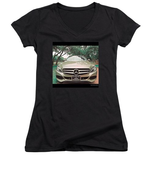 #grey #sky And A #silver Grey #car Women's V-Neck