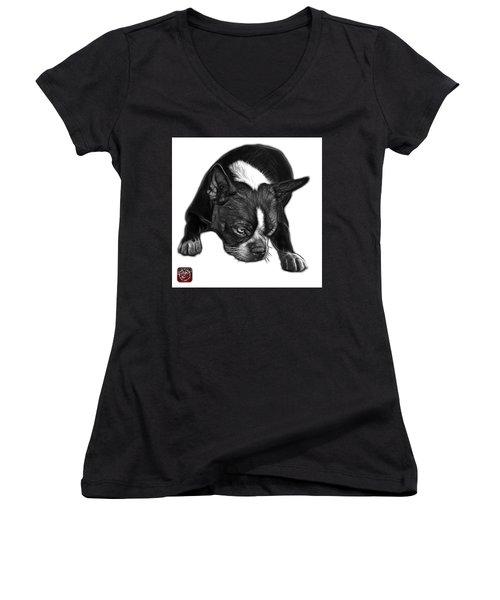 Greyscale Boston Terrier Art - 8384 - Wb Women's V-Neck T-Shirt
