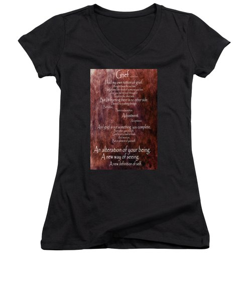 Women's V-Neck T-Shirt (Junior Cut) featuring the mixed media Grief 3 by Angelina Vick