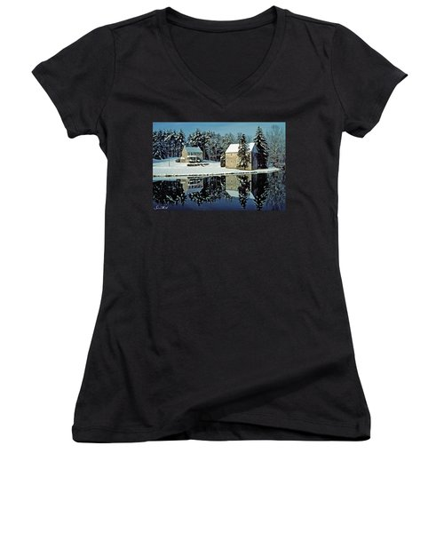 Grings Mill Snow 001 Women's V-Neck (Athletic Fit)