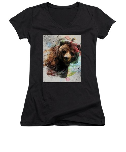 Grizzly Bear Art Women's V-Neck T-Shirt (Junior Cut) by Ron Grafe