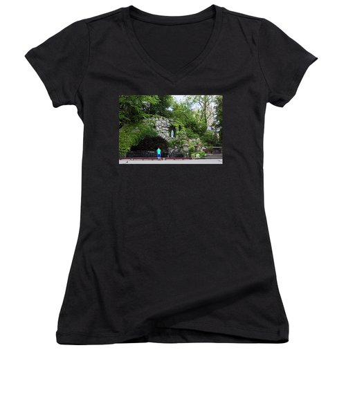 Grotto Of Our Lady Of Lourdes Women's V-Neck T-Shirt