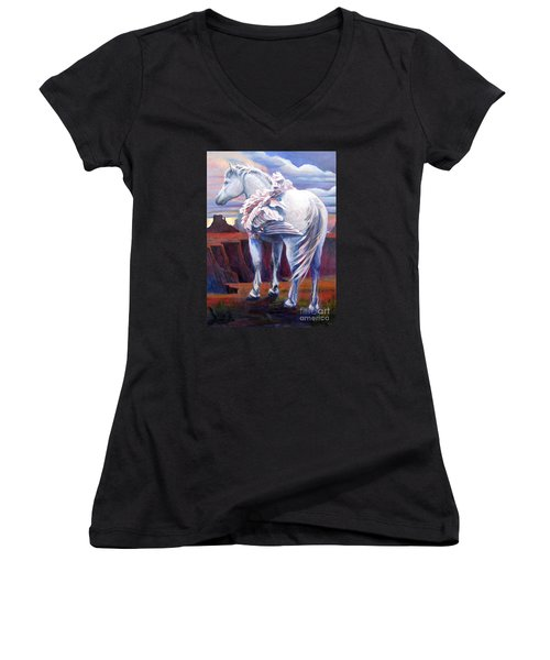 Grounded Women's V-Neck T-Shirt (Junior Cut) by Pat Burns