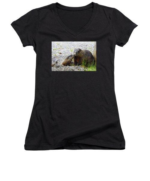 Women's V-Neck T-Shirt (Junior Cut) featuring the photograph Groundhog Kiss by Betty-Anne McDonald