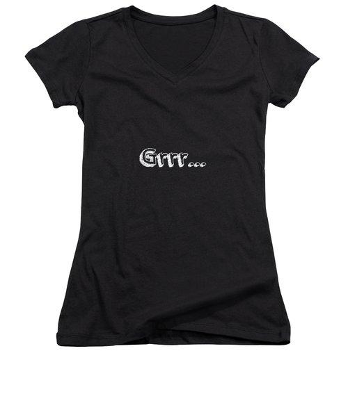Grrr Women's V-Neck T-Shirt (Junior Cut) by Inspired Arts