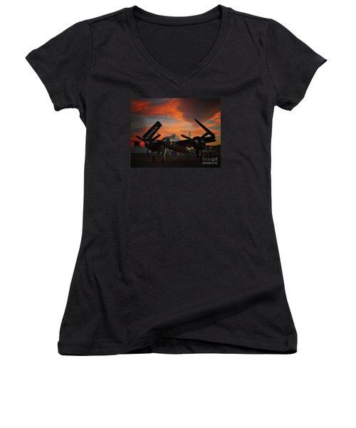 Grumman F7f Tigercat Fire Tiger Women's V-Neck T-Shirt