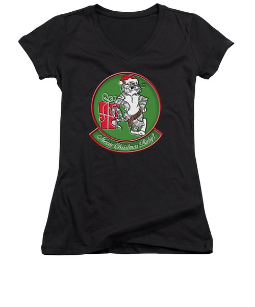 Grumman Merry Christmas Women's V-Neck (Athletic Fit)