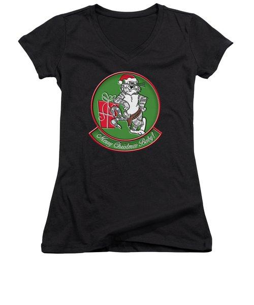 Grumman Merry Christmas Women's V-Neck (Athletic Fit)