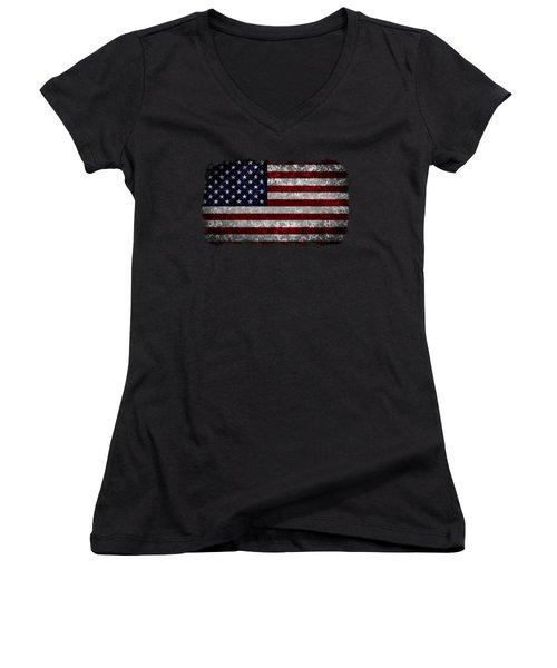 Grunge American Flag Women's V-Neck (Athletic Fit)