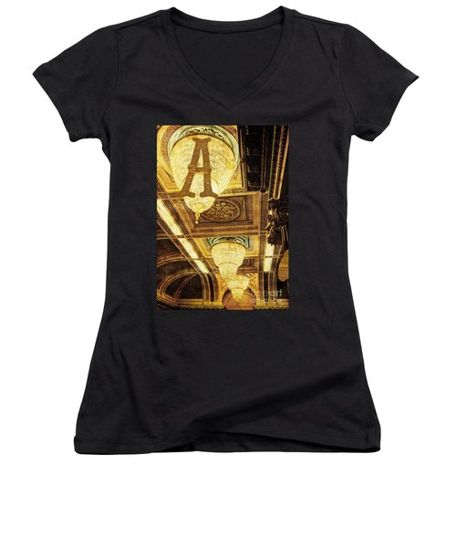 Grungy Melbourne Australia Alphabet Series Letter A Assembly Cha Women's V-Neck (Athletic Fit)