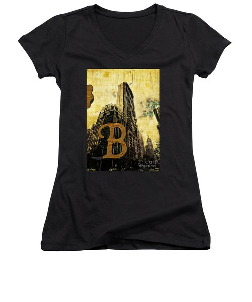 Grungy Melbourne Australia Alphabet Series Letter B Central Busi Women's V-Neck (Athletic Fit)