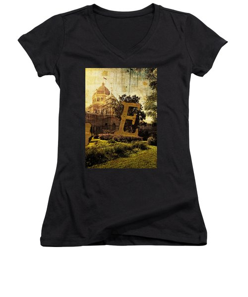 Grungy Melbourne Australia Alphabet Series Letter E Royal Exhibi Women's V-Neck (Athletic Fit)
