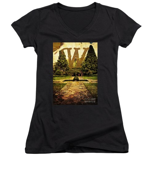 Grungy Melbourne Australia Alphabet Series Letter W Pioneer Wome Women's V-Neck (Athletic Fit)
