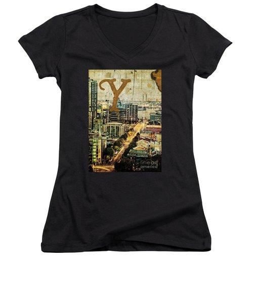 Grungy Melbourne Australia Alphabet Series Letter Y Yarra River Women's V-Neck