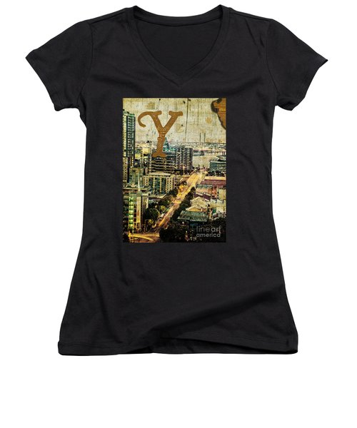 Grungy Melbourne Australia Alphabet Series Letter Y Yarra River Women's V-Neck (Athletic Fit)