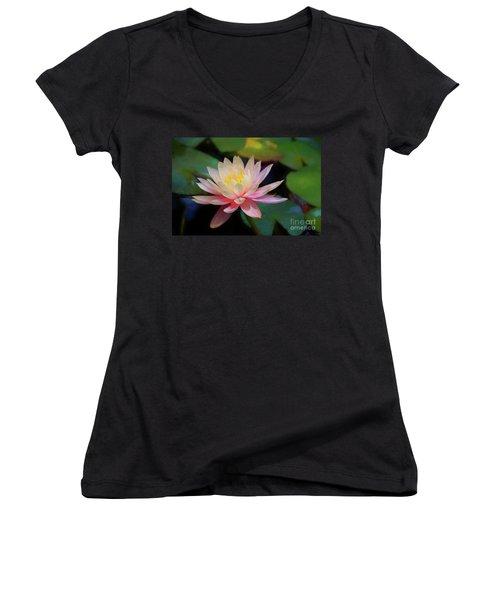 Grutas Water Lilly Women's V-Neck T-Shirt (Junior Cut) by John Kolenberg