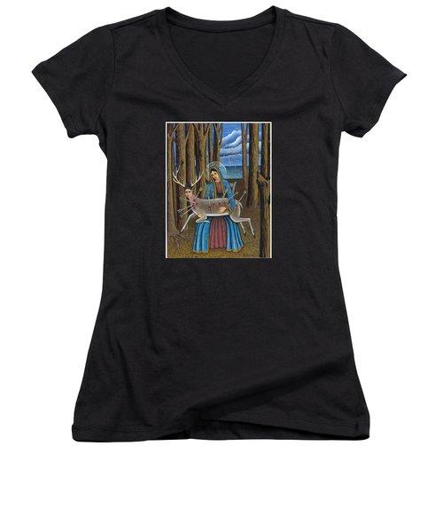 Guadalupe Visits Frida Kahlo Women's V-Neck T-Shirt (Junior Cut)