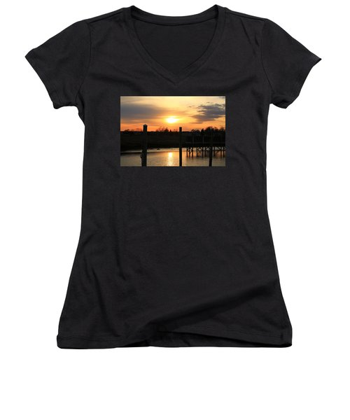 Guilford Low Tide Women's V-Neck T-Shirt (Junior Cut) by Catie Canetti
