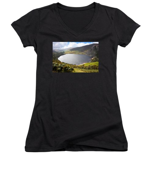 Guinness Lake In Wicklow Mountains  Ireland Women's V-Neck T-Shirt (Junior Cut) by Semmick Photo