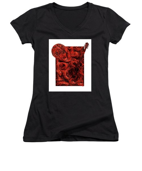 Guitar, Record, Red Women's V-Neck (Athletic Fit)