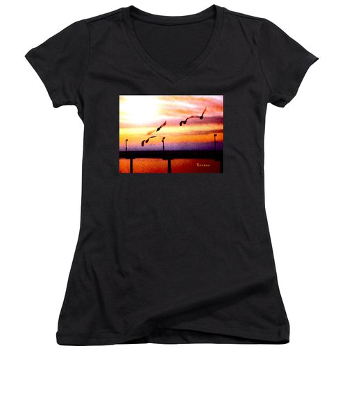 Women's V-Neck T-Shirt (Junior Cut) featuring the photograph Gull Play by Sadie Reneau