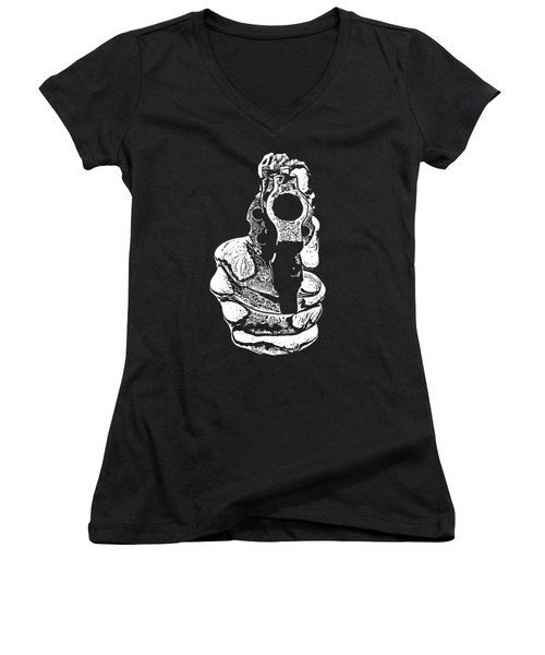 Gunman T-shirt Women's V-Neck T-Shirt (Junior Cut) by Edward Fielding