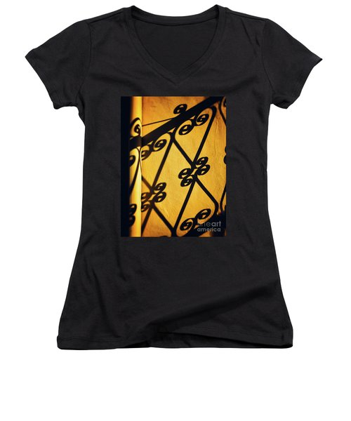 Women's V-Neck T-Shirt featuring the photograph Gutter And Ornate Shadows by Silvia Ganora