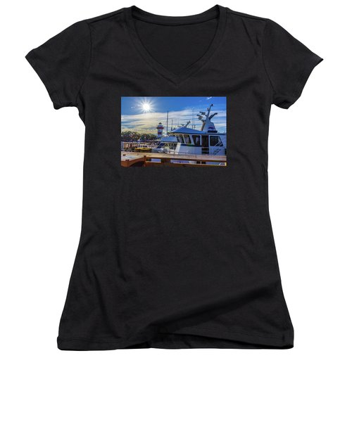 Habour Town Lighthouse And Marina Women's V-Neck