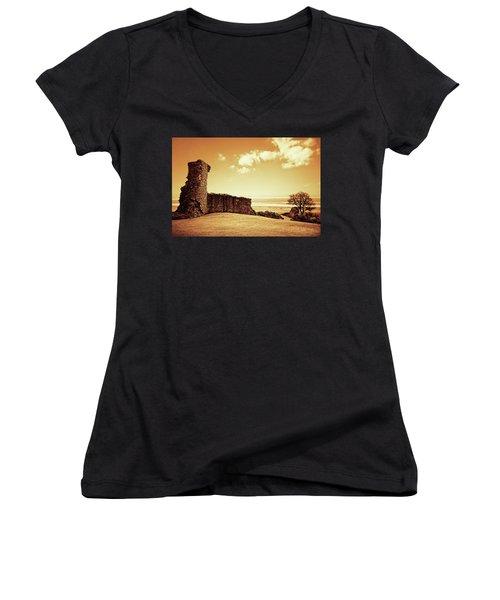 Hadleigh Castle Women's V-Neck T-Shirt (Junior Cut) by Joseph Westrupp