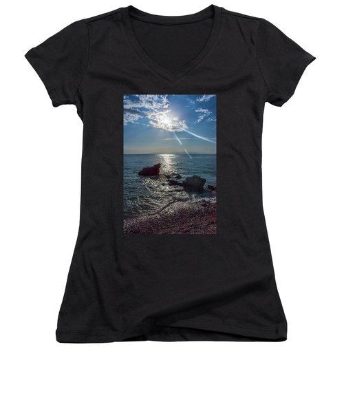 Haitian Beach In The Late Afternoon Women's V-Neck