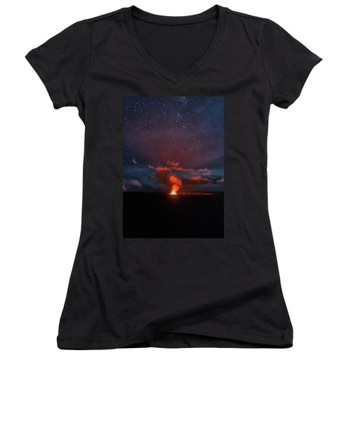 Halemaumau Crater At Night Women's V-Neck