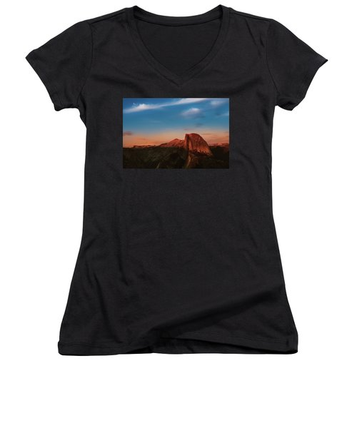 Half Dome  Women's V-Neck T-Shirt (Junior Cut) by Ralph Vazquez