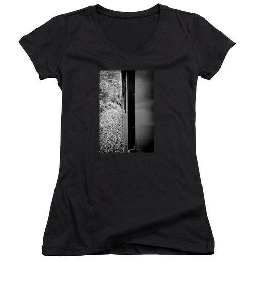 Half In Half Out Of The Train In The Mountains Women's V-Neck T-Shirt (Junior Cut) by Kelly Hazel
